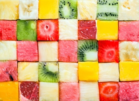 Seamless background pattern and texture of colourful fresh fruits